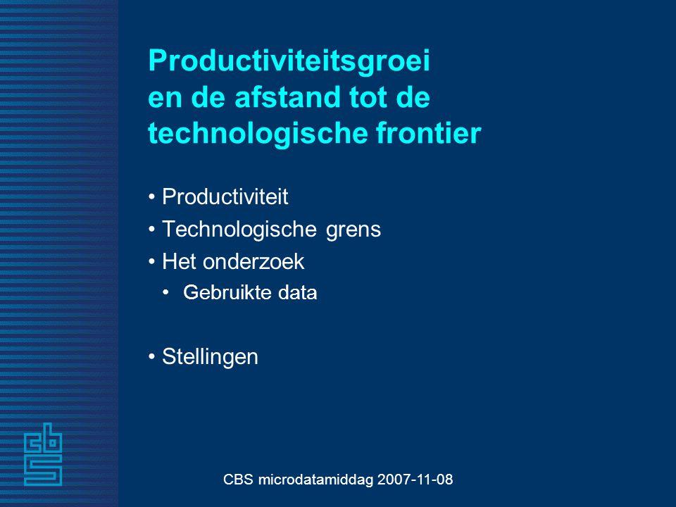 CBS microdatamiddag 2007-11-08 Productiviteitsgroei en de afstand tot de technologische frontier Productiviteit Technologische grens Het onderzoek Gebruikte data Stellingen