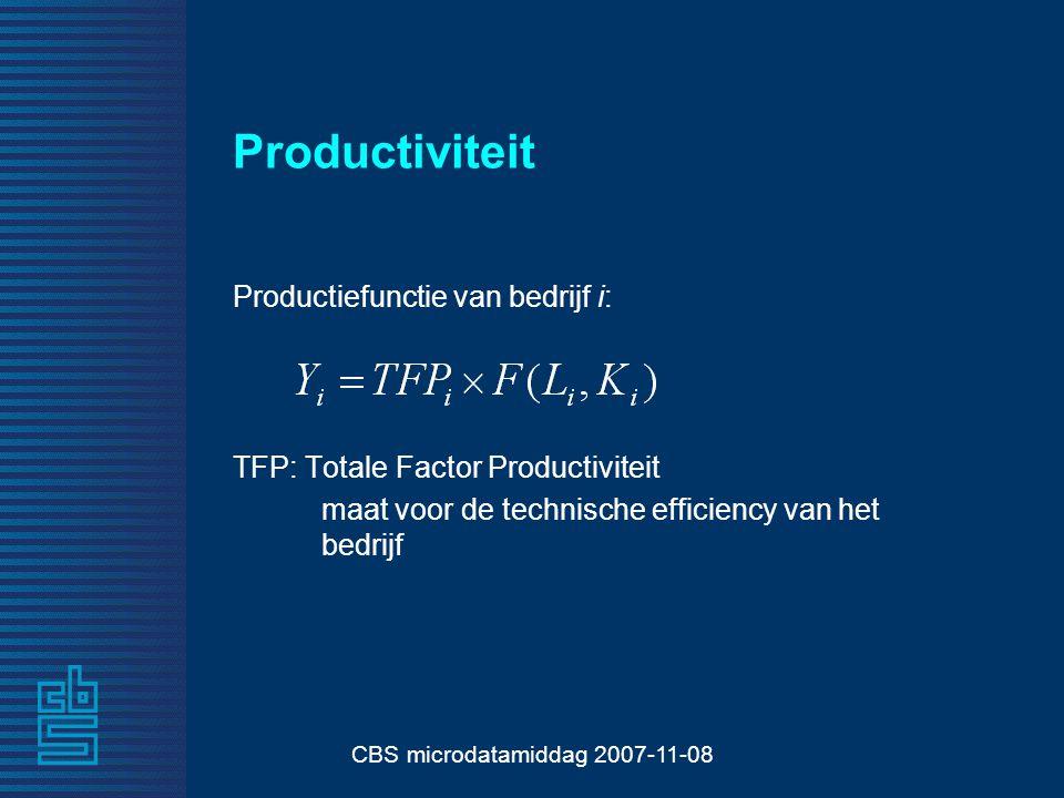 CBS microdatamiddag 2007-11-08 Productiviteit Productiefunctie van bedrijf i: TFP: Totale Factor Productiviteit maat voor de technische efficiency van het bedrijf