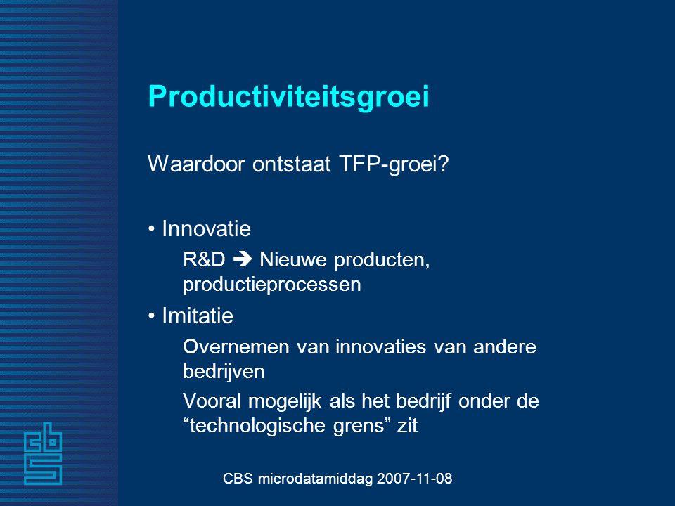 CBS microdatamiddag 2007-11-08 Productiviteitsgroei Waardoor ontstaat TFP-groei.