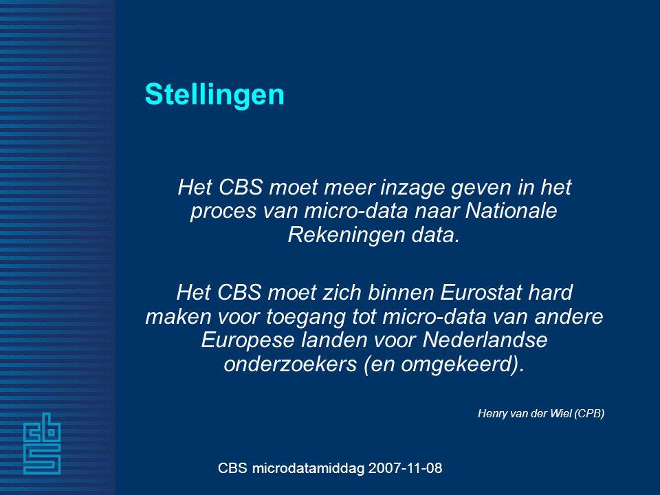CBS microdatamiddag 2007-11-08 Stellingen Het CBS moet meer inzage geven in het proces van micro-data naar Nationale Rekeningen data.