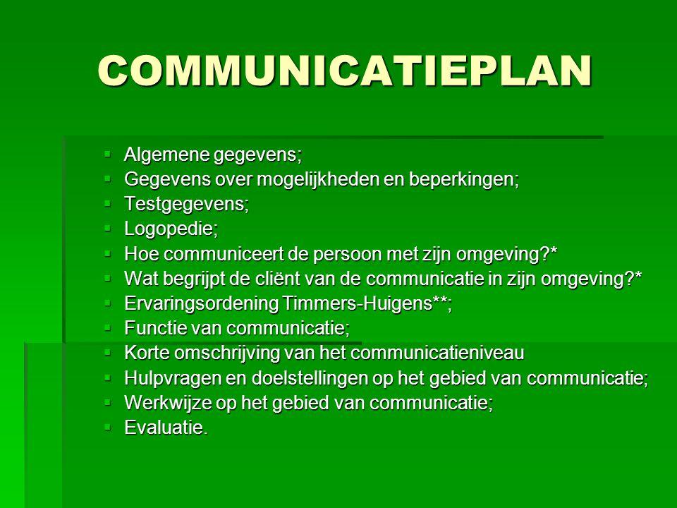 COMMUNICATIEPLAN  Algemene gegevens;  Gegevens over mogelijkheden en beperkingen;  Testgegevens;  Logopedie;  Hoe communiceert de persoon met zij