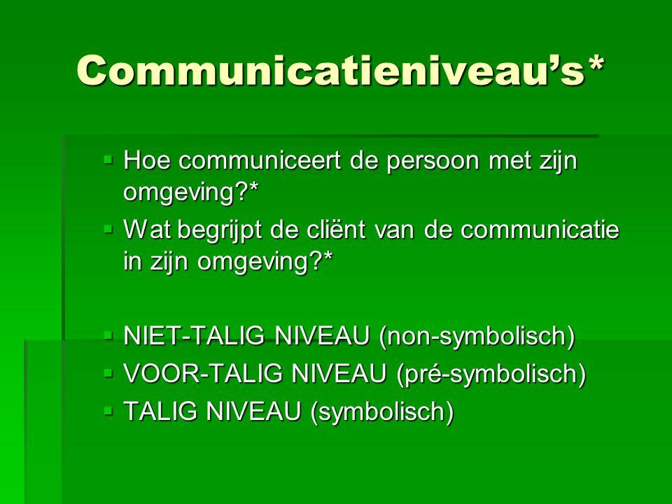Communicatieniveau's*  Hoe communiceert de persoon met zijn omgeving?*  Wat begrijpt de cliënt van de communicatie in zijn omgeving?*  NIET-TALIG N