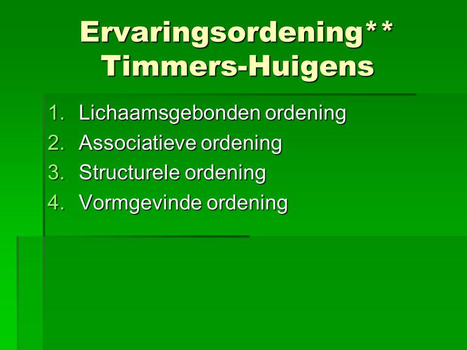 Ervaringsordening** Timmers-Huigens 1.Lichaamsgebonden ordening 2.Associatieve ordening 3.Structurele ordening 4.Vormgevinde ordening