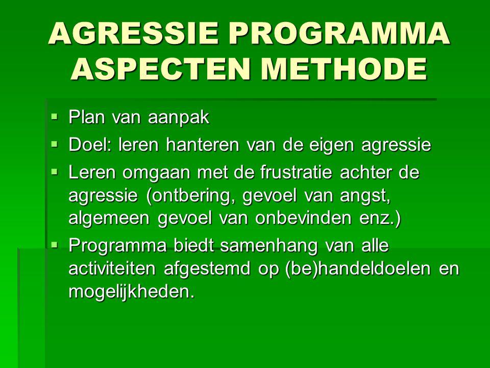 AGRESSIE PROGRAMMA ASPECTEN METHODE  Plan van aanpak  Doel: leren hanteren van de eigen agressie  Leren omgaan met de frustratie achter de agressie