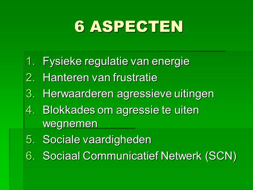 6 ASPECTEN 1.Fysieke regulatie van energie 2.Hanteren van frustratie 3.Herwaarderen agressieve uitingen 4.Blokkades om agressie te uiten wegnemen 5.So