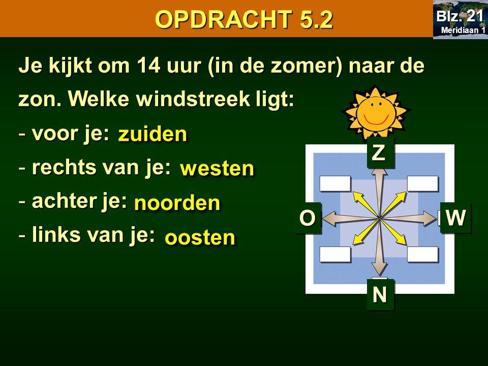 OPDRACHT 5.2 Meridiaan 1 Meridiaan 1 Blz. 21 Je kijkt om 14 uur (in de zomer) naar de zon. Welke windstreek ligt: - voor je: - rechts van je: - achter