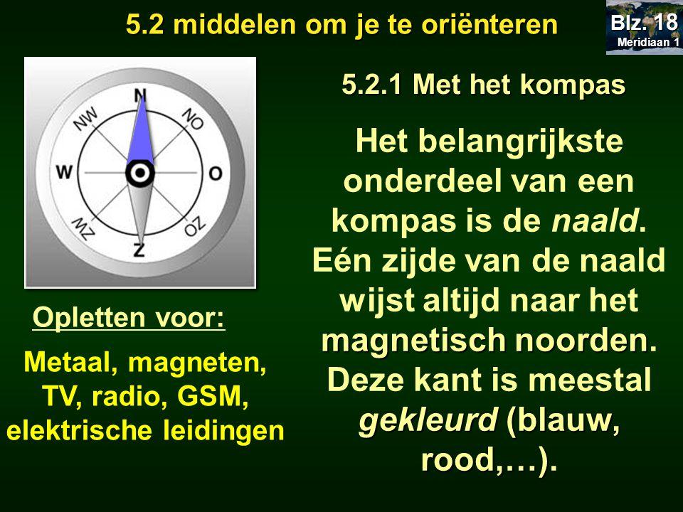 5.2 middelen om je te oriënteren 5.2.1 Met het kompas magnetisch noorden gekleurd (blauw, rood,…) Het belangrijkste onderdeel van een kompas is de naald.