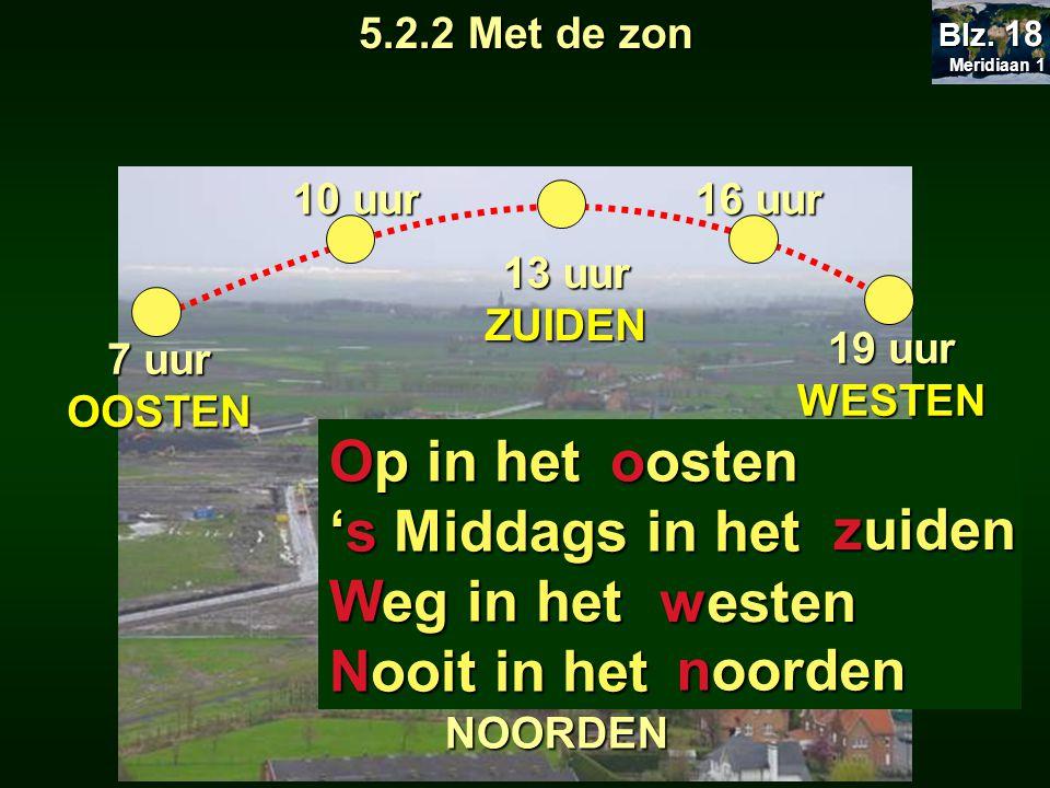19 uur WESTEN 16 uur 13 uur ZUIDEN 10 uur 7 uur OOSTEN NOORDEN 5.2.2 Met de zon Op in het 's Middags in het Weg in het Nooit in het oosten zuiden westen noorden Meridiaan 1 Meridiaan 1 Blz.
