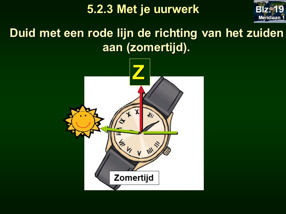 5.2.3 Met je uurwerk Duid met een rode lijn de richting van het zuiden aan (zomertijd). Meridiaan 1 Meridiaan 1 Blz. 19 Z Zomertijd