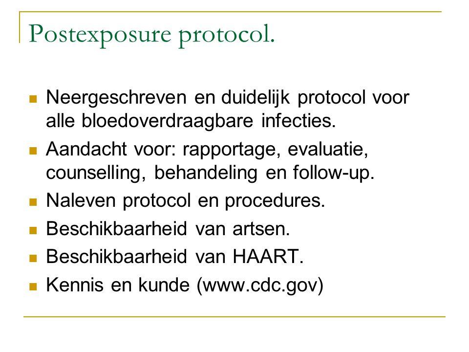 Postexposure protocol. Neergeschreven en duidelijk protocol voor alle bloedoverdraagbare infecties. Aandacht voor: rapportage, evaluatie, counselling,