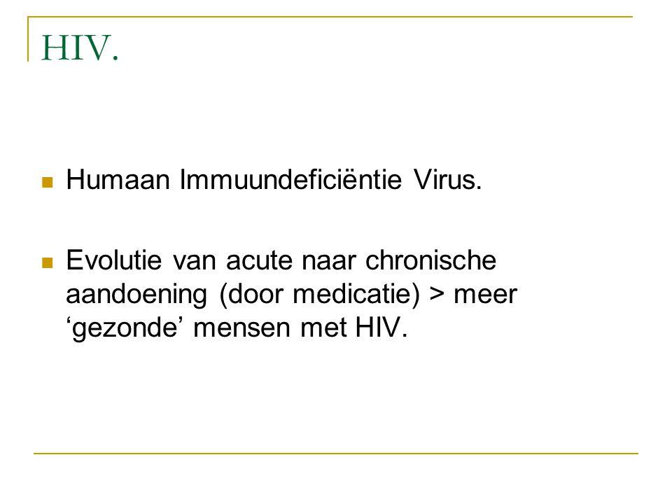 HIV. Humaan Immuundeficiëntie Virus. Evolutie van acute naar chronische aandoening (door medicatie) > meer 'gezonde' mensen met HIV.