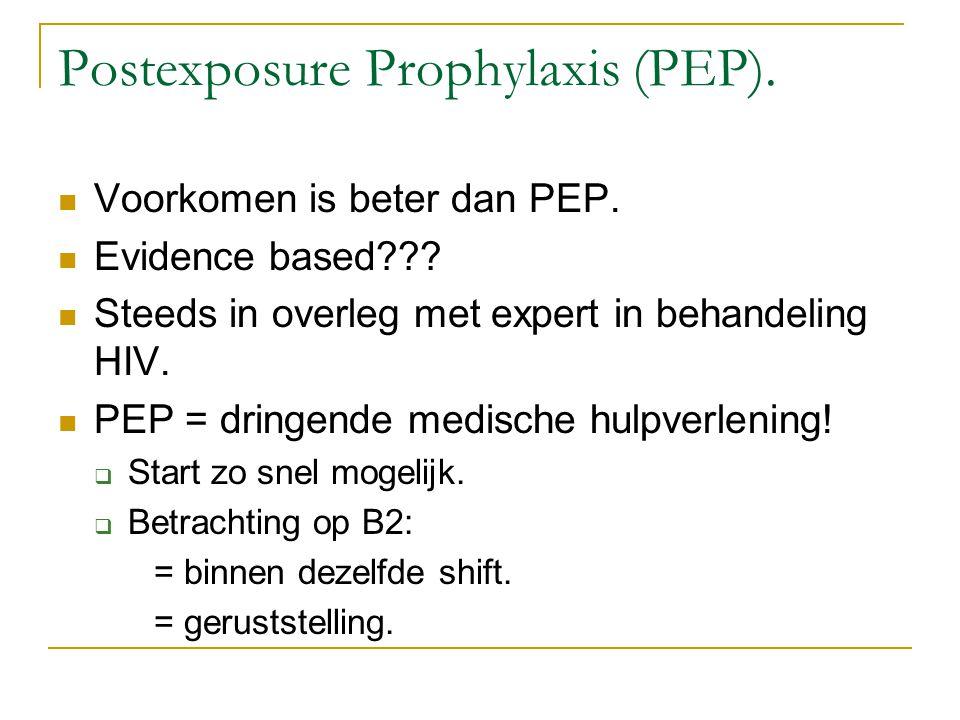 Postexposure Prophylaxis (PEP). Voorkomen is beter dan PEP. Evidence based??? Steeds in overleg met expert in behandeling HIV. PEP = dringende medisch