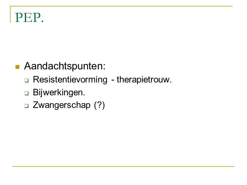 PEP. Aandachtspunten:  Resistentievorming - therapietrouw.  Bijwerkingen.  Zwangerschap (?)
