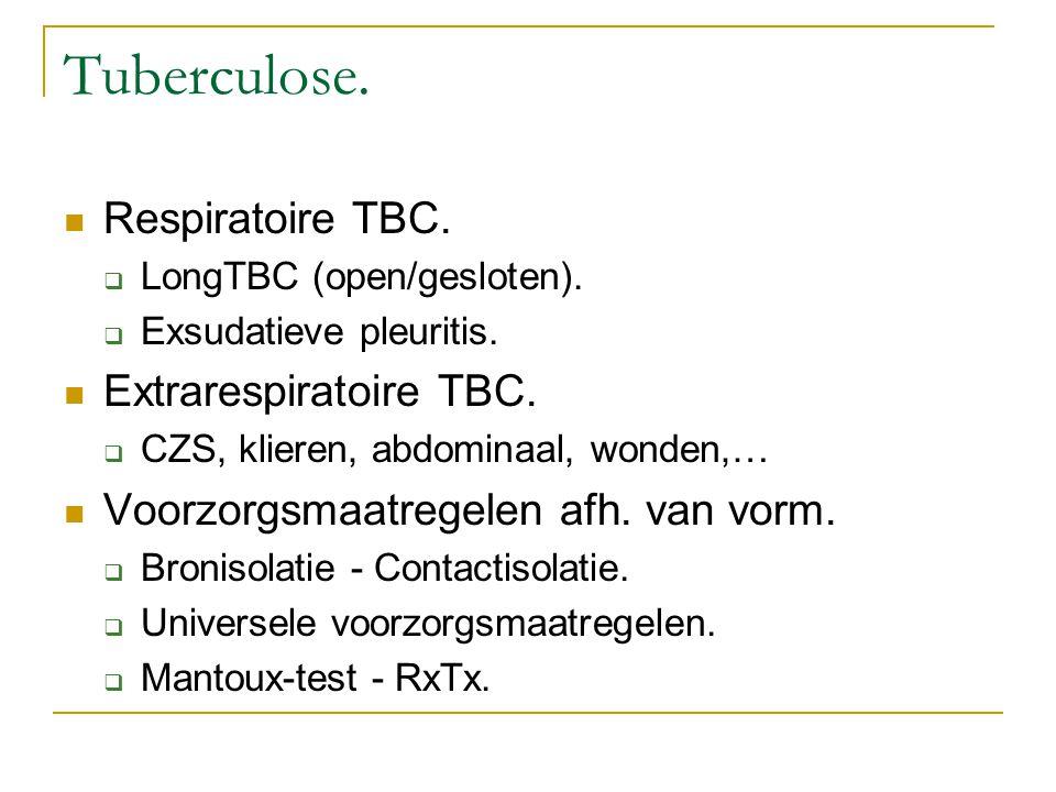 Tuberculose. Respiratoire TBC.  LongTBC (open/gesloten).  Exsudatieve pleuritis. Extrarespiratoire TBC.  CZS, klieren, abdominaal, wonden,… Voorzor