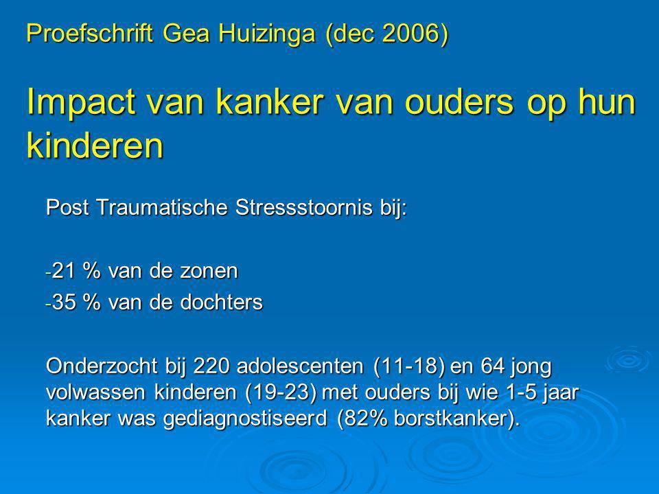 Proefschrift Gea Huizinga (dec 2006) Impact van kanker van ouders op hun kinderen Post Traumatische Stressstoornis bij: - 21 % van de zonen - 35 % van