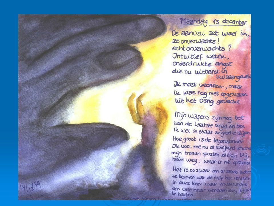 Aandachtspunten psychosociaal - Kwaad - Kwaad zijn is makkelijker dan verdriet toelaten - Kwaad zijn kan een vorm van zorg zijn (vechten, 'iets' willen doen, desnoods de zorgverlener belagen) - Kwaad zijn gaat maar zelden over de échte angel - Helpend: Contact maken, ruimte, veiligheid, grenzen