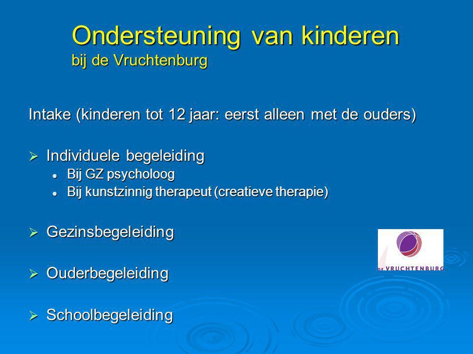 Ondersteuning van kinderen bij de Vruchtenburg Intake (kinderen tot 12 jaar: eerst alleen met de ouders)  Individuele begeleiding Bij GZ psycholoog B