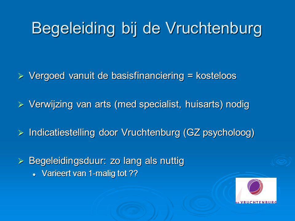Begeleiding bij de Vruchtenburg  Vergoed vanuit de basisfinanciering = kosteloos  Verwijzing van arts (med specialist, huisarts) nodig  Indicatiest