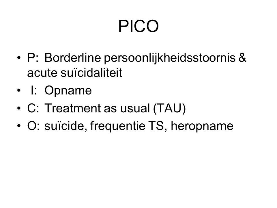 PICO P:Borderline persoonlijkheidsstoornis & acute suïcidaliteit I:Opname C:Treatment as usual (TAU) O:suïcide, frequentie TS, heropname