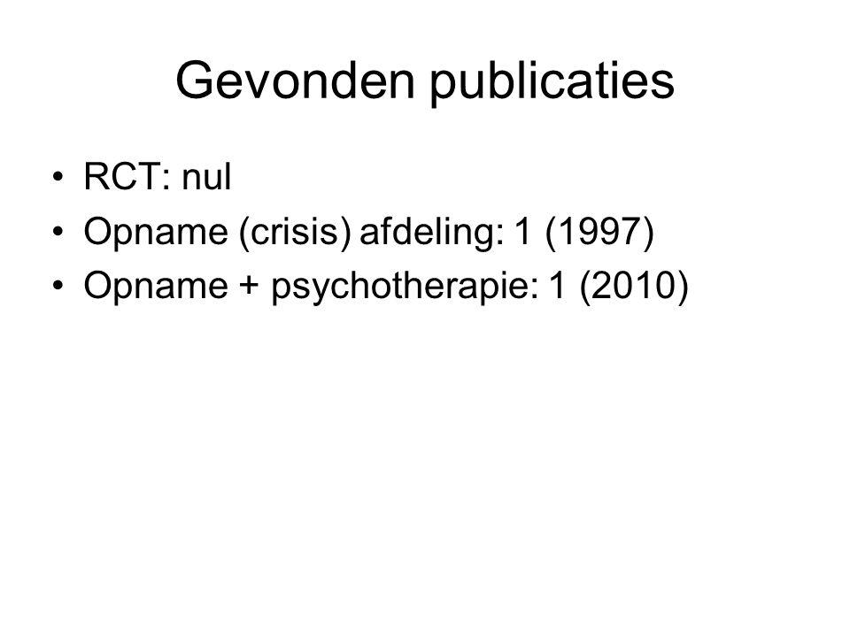 Gevonden publicaties RCT: nul Opname (crisis) afdeling: 1 (1997) Opname + psychotherapie: 1 (2010)