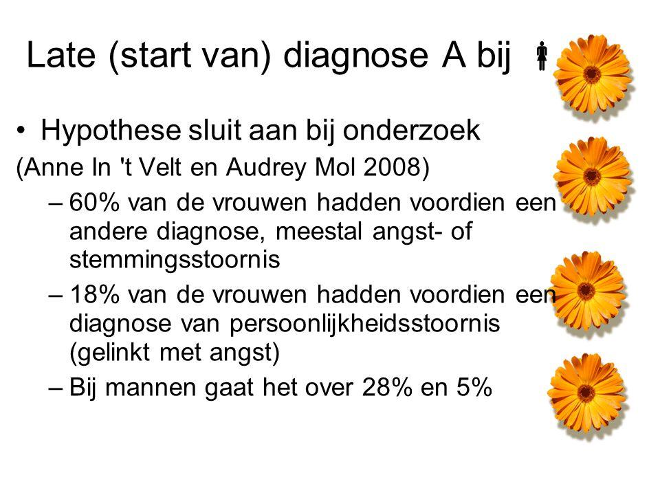 Late (start van) diagnose A bij  Hypothese sluit aan bij onderzoek (Anne In 't Velt en Audrey Mol 2008) –60% van de vrouwen hadden voordien een ander