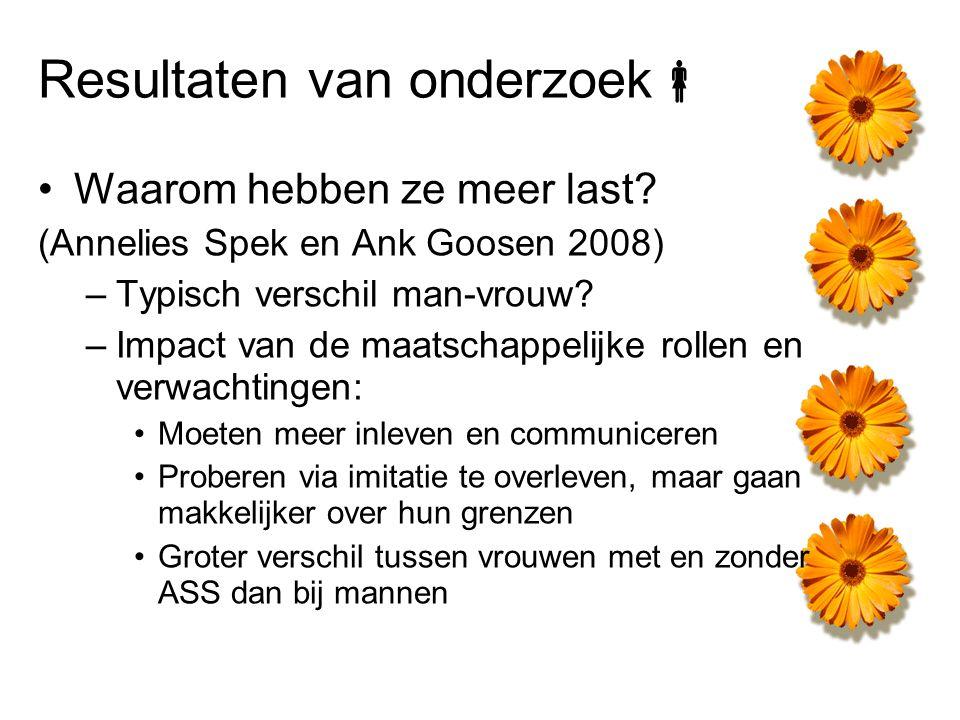 Resultaten van onderzoek  Waarom hebben ze meer last? (Annelies Spek en Ank Goosen 2008) –Typisch verschil man-vrouw? –Impact van de maatschappelijke
