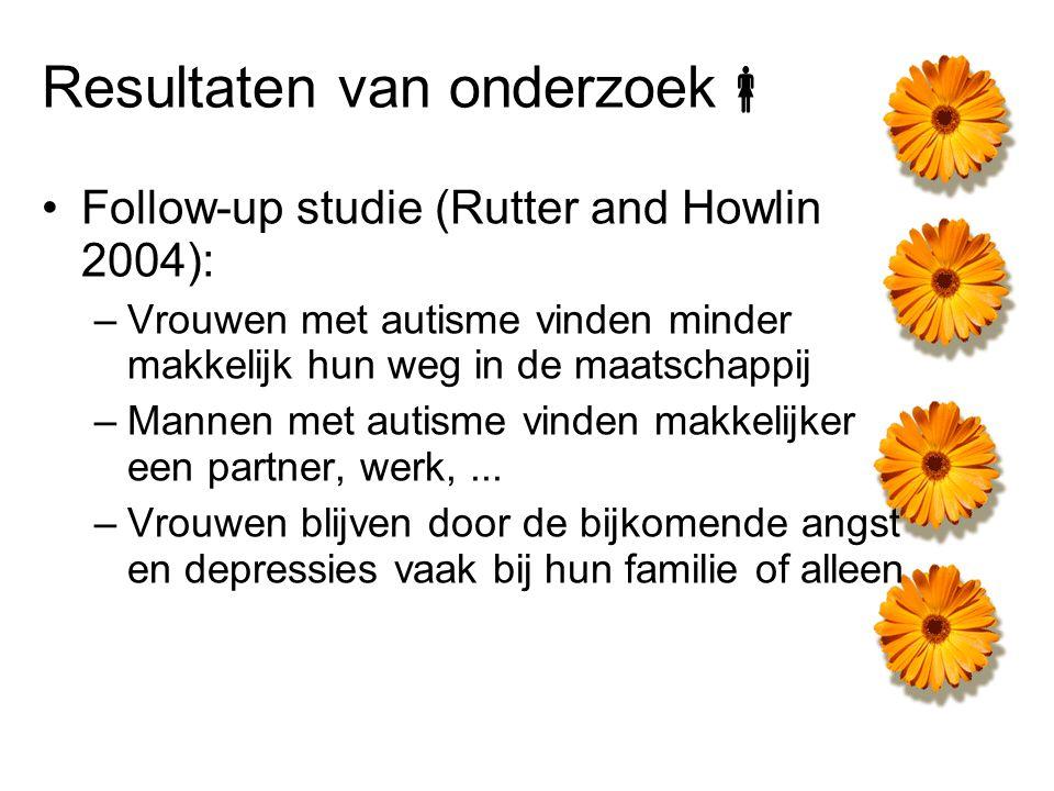 Resultaten van onderzoek  Follow-up studie (Rutter and Howlin 2004): –Vrouwen met autisme vinden minder makkelijk hun weg in de maatschappij –Mannen