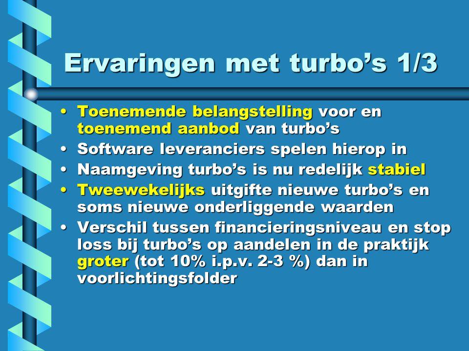 Ervaringen met turbo's 1/3 Toenemende belangstelling voor en toenemend aanbod van turbo'sToenemende belangstelling voor en toenemend aanbod van turbo's Software leveranciers spelen hierop inSoftware leveranciers spelen hierop in Naamgeving turbo's is nu redelijk stabielNaamgeving turbo's is nu redelijk stabiel Tweewekelijks uitgifte nieuwe turbo's en soms nieuwe onderliggende waardenTweewekelijks uitgifte nieuwe turbo's en soms nieuwe onderliggende waarden Verschil tussen financieringsniveau en stop loss bij turbo's op aandelen in de praktijk groter (tot 10% i.p.v.