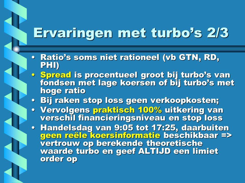 Ervaringen met turbo's 2/3 Ratio's soms niet rationeel (vb GTN, RD, PHI)Ratio's soms niet rationeel (vb GTN, RD, PHI) Spread is procentueel groot bij turbo's van fondsen met lage koersen of bij turbo's met hoge ratioSpread is procentueel groot bij turbo's van fondsen met lage koersen of bij turbo's met hoge ratio Bij raken stop loss geen verkoopkosten;Bij raken stop loss geen verkoopkosten; Vervolgens praktisch 100% uitkering van verschil financieringsniveau en stop lossVervolgens praktisch 100% uitkering van verschil financieringsniveau en stop loss Handelsdag van 9:05 tot 17:25, daarbuiten geen reële koersinformatie beschikbaar => vertrouw op berekende theoretische waarde turbo en geef ALTIJD een limiet order opHandelsdag van 9:05 tot 17:25, daarbuiten geen reële koersinformatie beschikbaar => vertrouw op berekende theoretische waarde turbo en geef ALTIJD een limiet order op