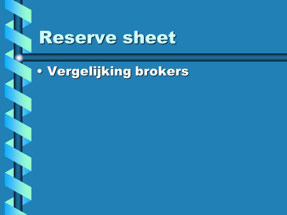 Reserve sheet Vergelijking brokersVergelijking brokers