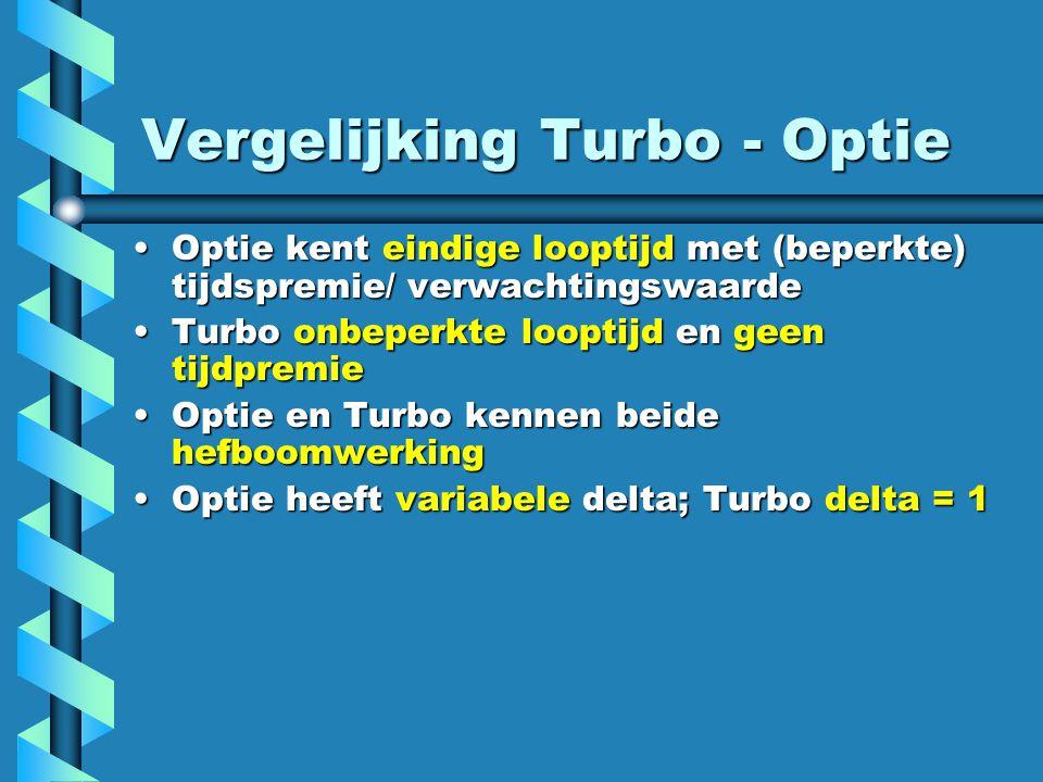 Vergelijking Turbo - Optie Optie kent eindige looptijd met (beperkte) tijdspremie/ verwachtingswaardeOptie kent eindige looptijd met (beperkte) tijdspremie/ verwachtingswaarde Turbo onbeperkte looptijd en geen tijdpremieTurbo onbeperkte looptijd en geen tijdpremie Optie en Turbo kennen beide hefboomwerkingOptie en Turbo kennen beide hefboomwerking Optie heeft variabele delta; Turbo delta = 1Optie heeft variabele delta; Turbo delta = 1