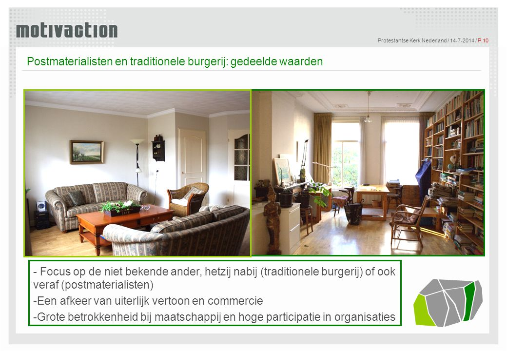 © Motivaction International B.V. Protestantse Kerk Nederland / 14-7-2014 / P.10 Tekst Postmaterialisten en traditionele burgerij: gedeelde waarden - F
