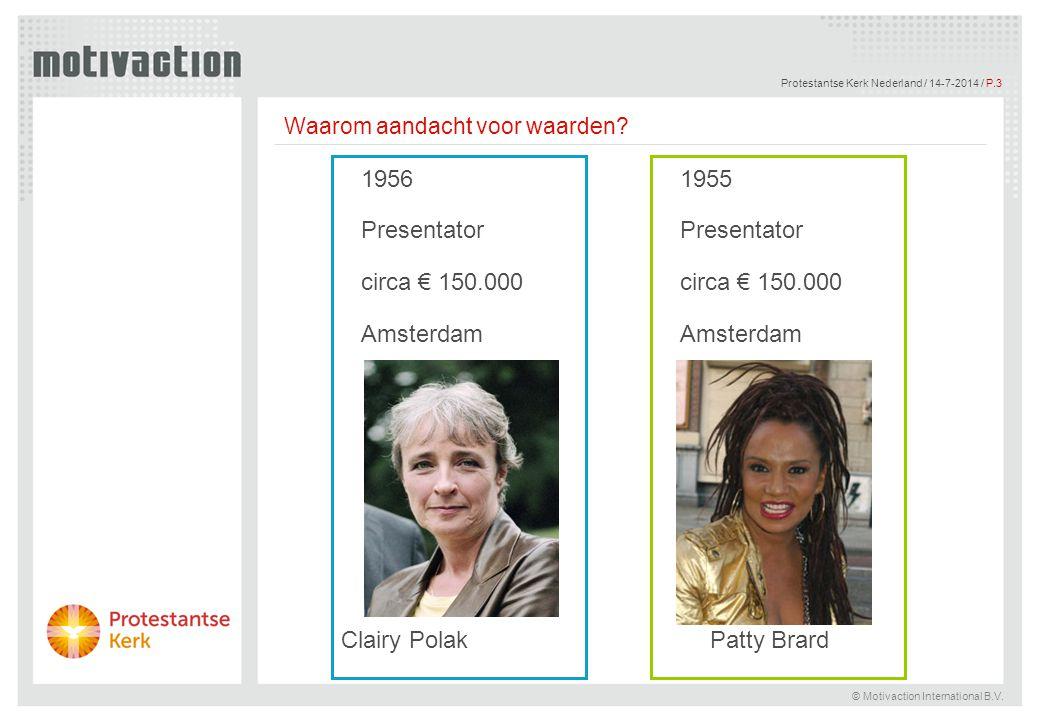 © Motivaction International B.V. Protestantse Kerk Nederland / 14-7-2014 / P.3 1956 Presentator circa € 150.000 Amsterdam 1955 Presentator circa € 150