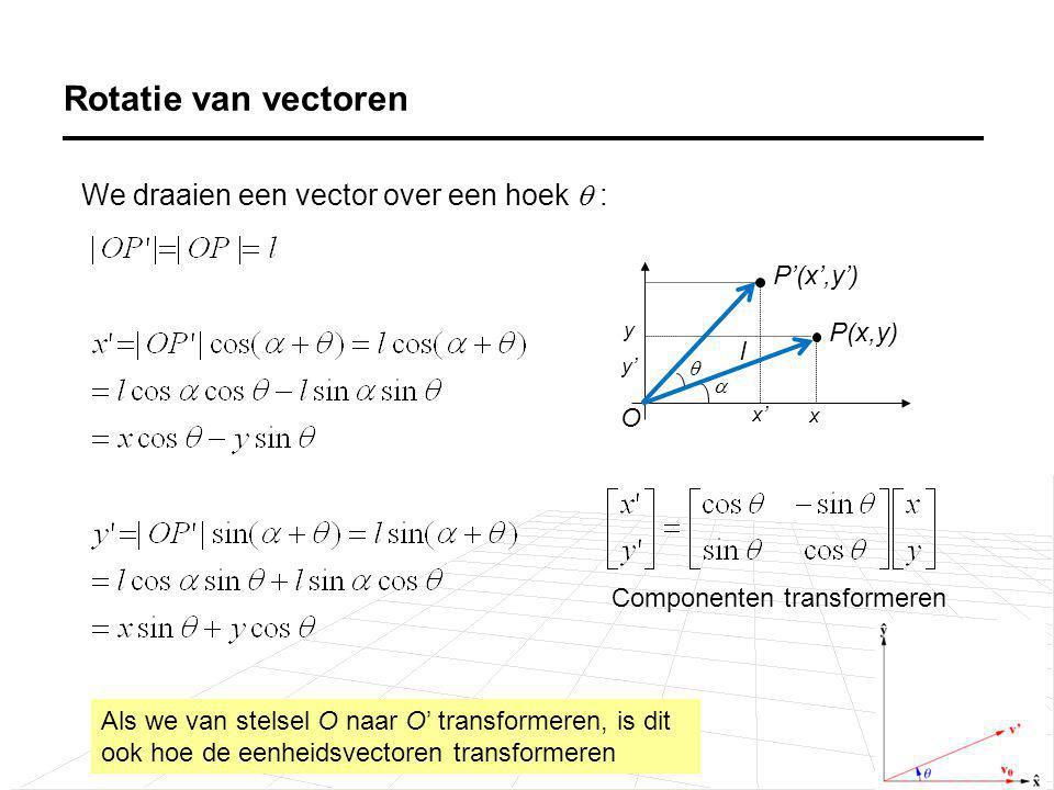 Rotatie van vectoren We draaien een vector over een hoek  : P(x,y) P'(x',y') x x' y' y   l O Als we van stelsel O naar O' transformeren, is dit ook