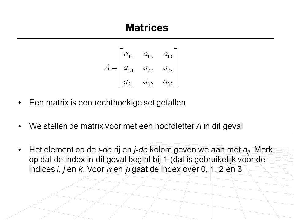 Matrices Een matrix is een rechthoekige set getallen We stellen de matrix voor met een hoofdletter A in dit geval Het element op de i-de rij en j-de kolom geven we aan met a ij.