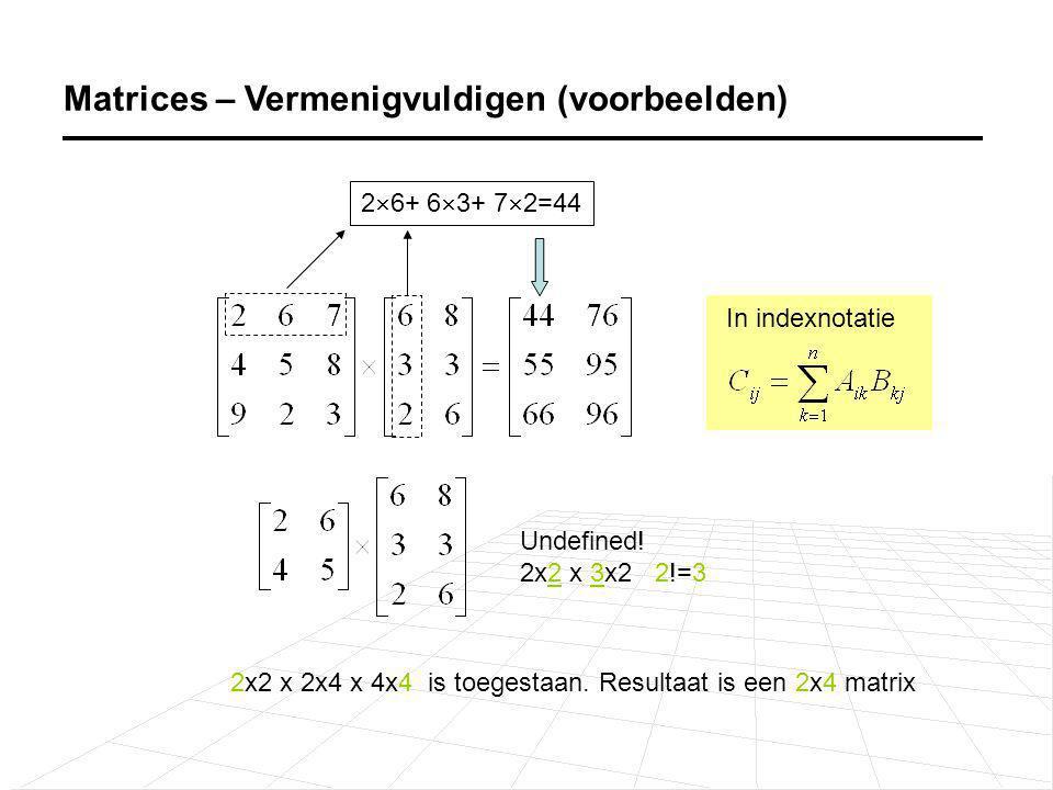 Matrices – Vermenigvuldigen (voorbeelden) 2  6+ 6  3+ 7  2=44 Undefined! 2x2 x 3x2 2!=3 2x2 x 2x4 x 4x4 is toegestaan. Resultaat is een 2x4 matrix