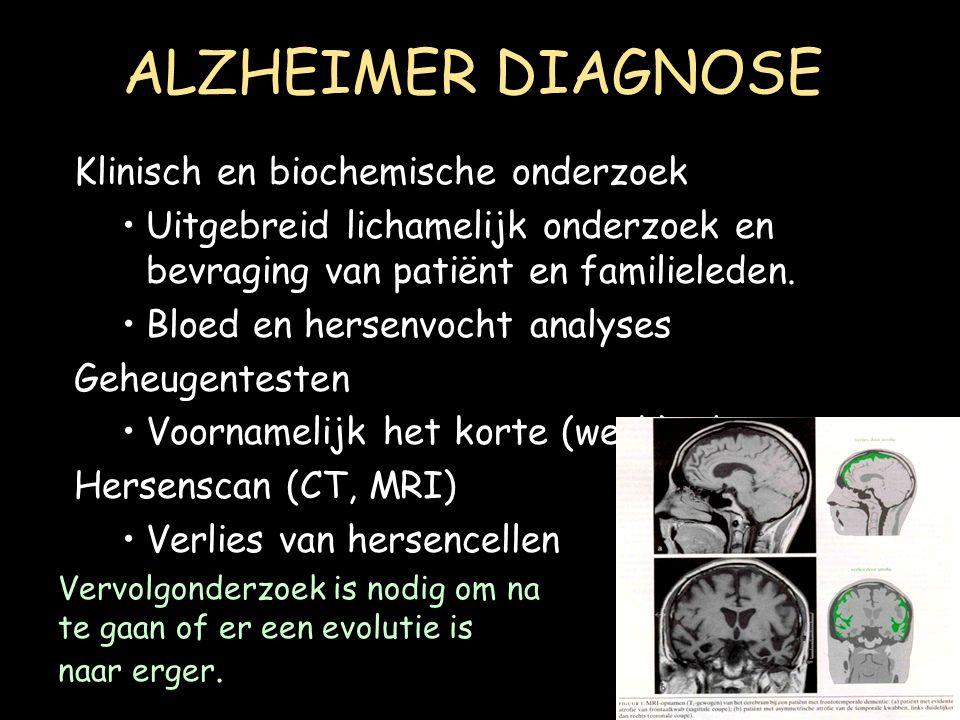 ALZHEIMER DIAGNOSE Klinisch en biochemische onderzoek Uitgebreid lichamelijk onderzoek en bevraging van patiënt en familieleden. Bloed en hersenvocht