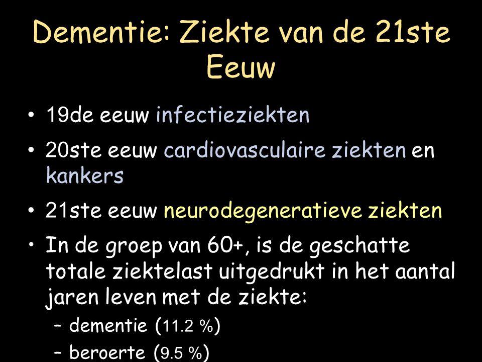 Dementie: Ziekte van de 21ste Eeuw 19 de eeuw infectieziekten 20 ste eeuw cardiovasculaire ziekten en kankers 21 ste eeuw neurodegeneratieve ziekten I