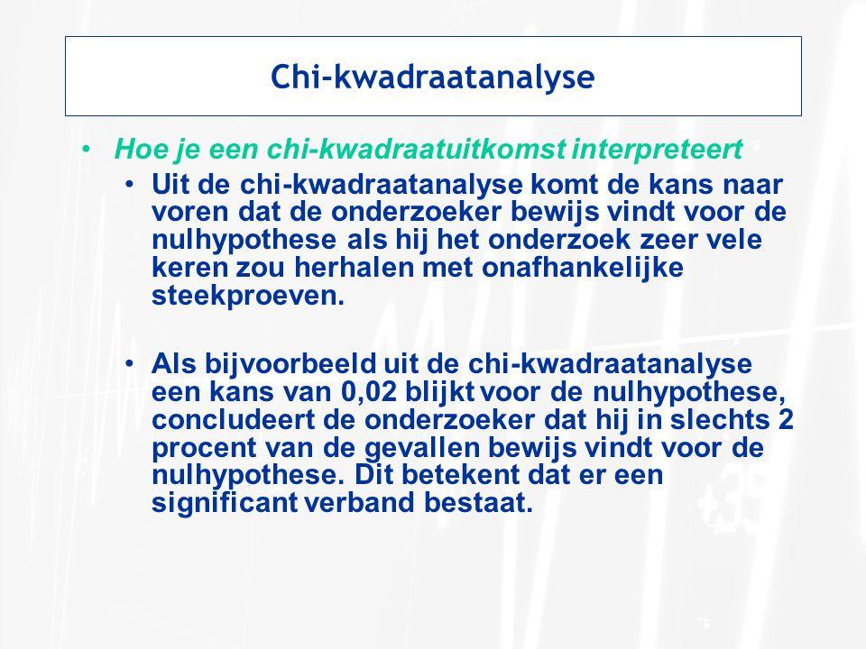 Chi-kwadraatanalyse Hoe je een chi-kwadraatuitkomst interpreteert Uit de chi-kwadraatanalyse komt de kans naar voren dat de onderzoeker bewijs vindt voor de nulhypothese als hij het onderzoek zeer vele keren zou herhalen met onafhankelijke steekproeven.