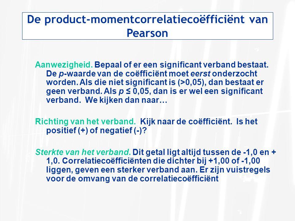 De product-momentcorrelatiecoëfficiënt van Pearson Aanwezigheid. Bepaal of er een significant verband bestaat. De p-waarde van de coëfficiënt moet eer