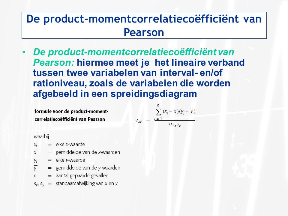 De product-momentcorrelatiecoëfficiënt van Pearson De product-momentcorrelatiecoëfficiënt van Pearson: hiermee meet je het lineaire verband tussen twee variabelen van interval- en/of rationiveau, zoals de variabelen die worden afgebeeld in een spreidingsdiagram