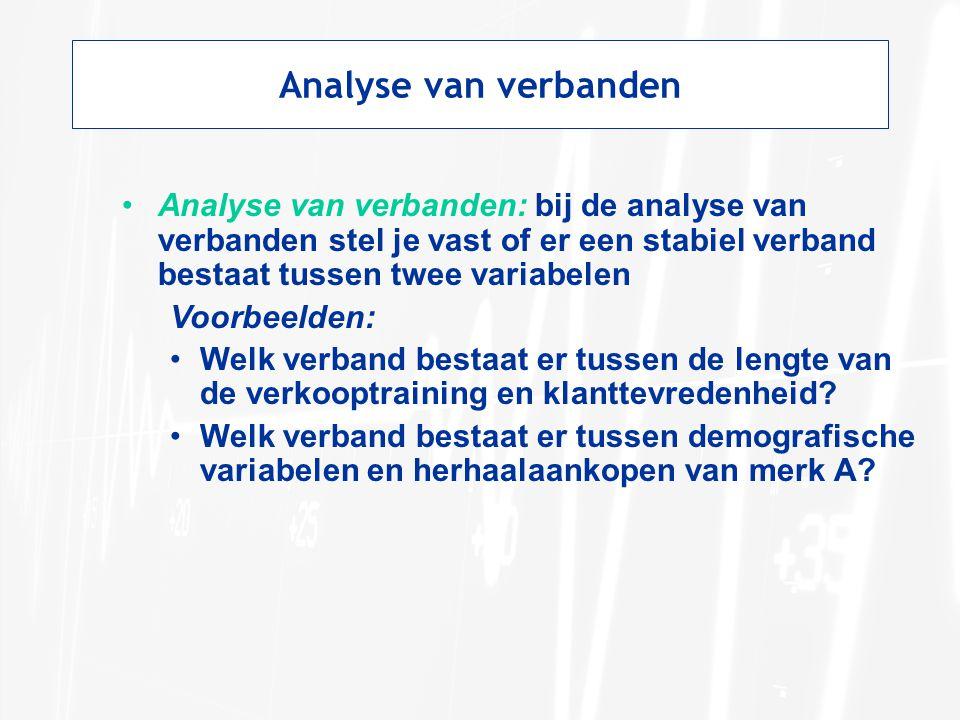 Analyse van verbanden Analyse van verbanden: bij de analyse van verbanden stel je vast of er een stabiel verband bestaat tussen twee variabelen Voorbeelden: Welk verband bestaat er tussen de lengte van de verkooptraining en klanttevredenheid.