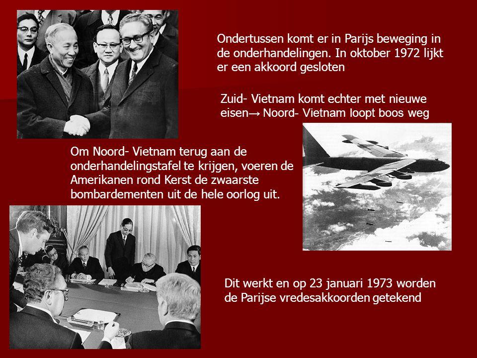 Ondertussen komt er in Parijs beweging in de onderhandelingen. In oktober 1972 lijkt er een akkoord gesloten Zuid- Vietnam komt echter met nieuwe eise
