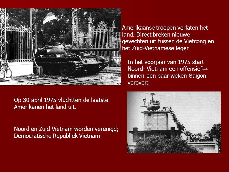 Amerikaanse troepen verlaten het land. Direct breken nieuwe gevechten uit tussen de Vietcong en het Zuid-Vietnamese leger In het voorjaar van 1975 sta