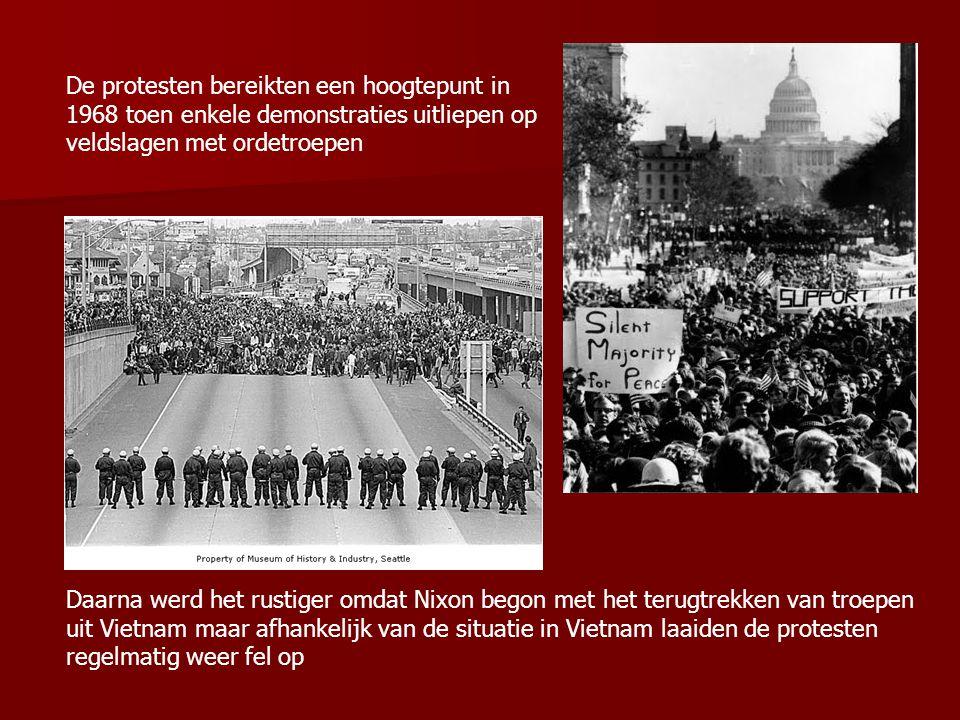 De protesten bereikten een hoogtepunt in 1968 toen enkele demonstraties uitliepen op veldslagen met ordetroepen Daarna werd het rustiger omdat Nixon b