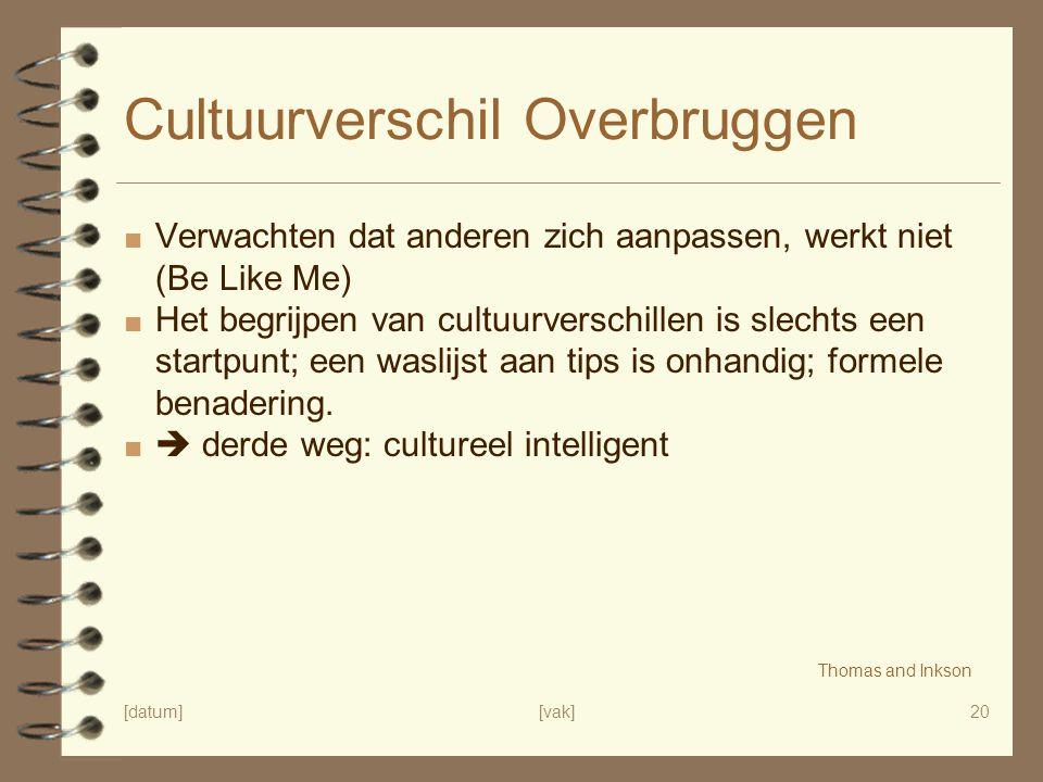 [datum][vak]20 Cultuurverschil Overbruggen ■ Verwachten dat anderen zich aanpassen, werkt niet (Be Like Me) ■ Het begrijpen van cultuurverschillen is slechts een startpunt; een waslijst aan tips is onhandig; formele benadering.