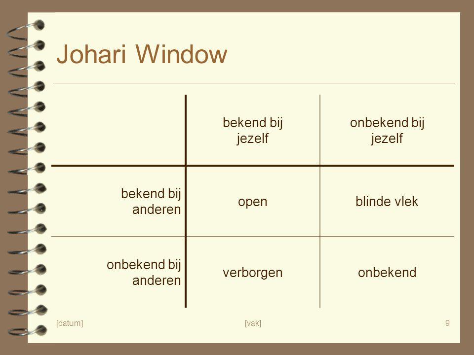 [datum][vak]9 Johari Window bekend bij jezelf onbekend bij jezelf bekend bij anderen openblinde vlek onbekend bij anderen verborgenonbekend