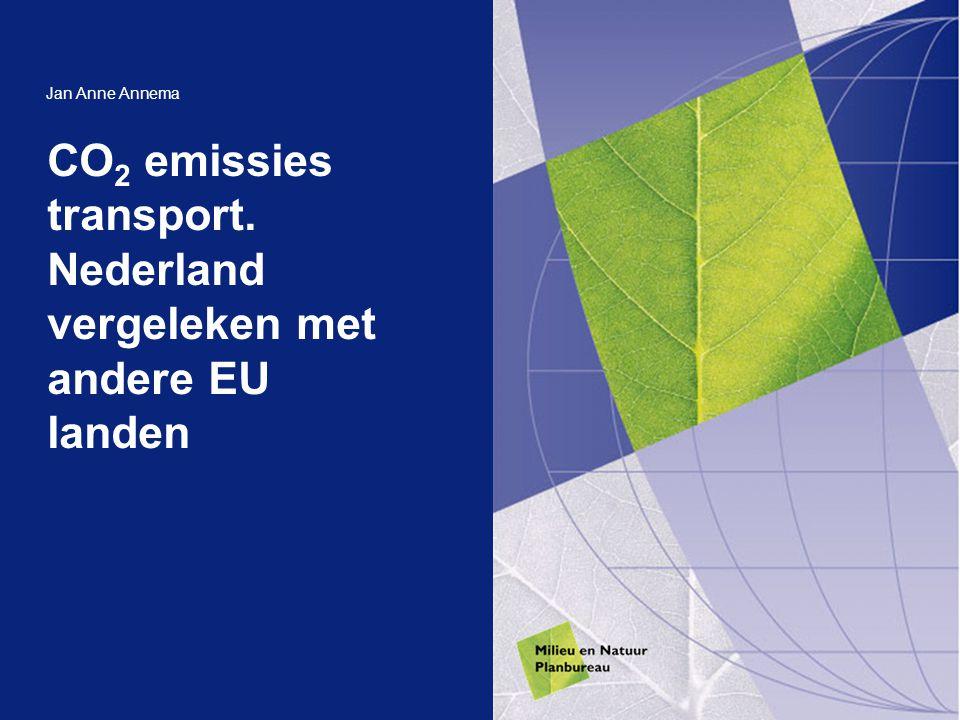CO 2 emissies transport. Nederland vergeleken met andere EU landen Jan Anne Annema