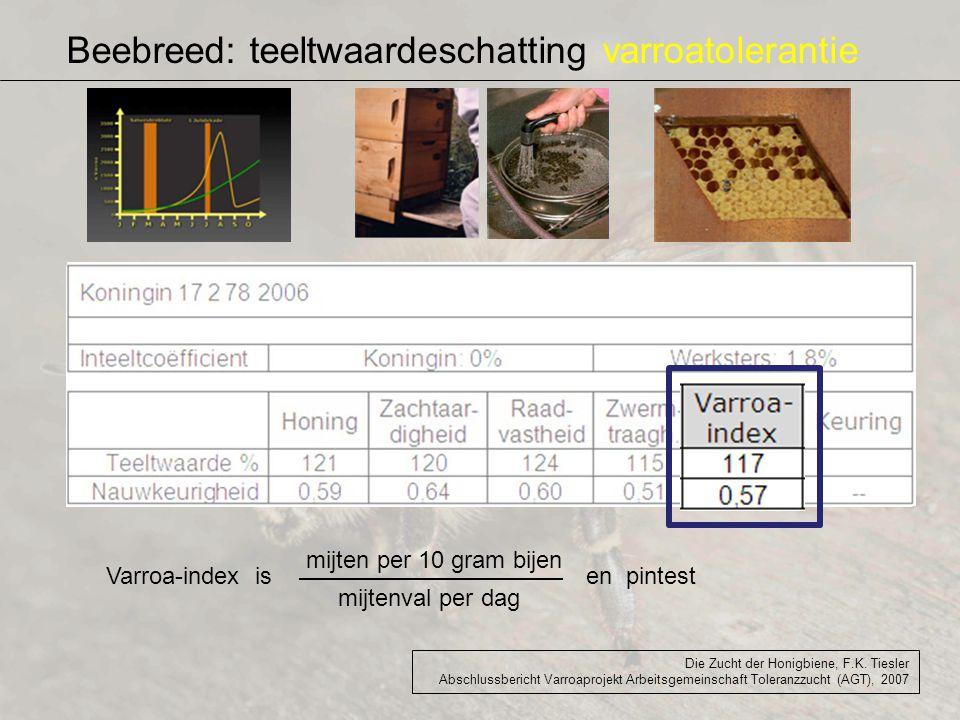 Beebreed: teeltwaardeschatting varroatolerantie Die Zucht der Honigbiene, F.K. Tiesler Abschlussbericht Varroaprojekt Arbeitsgemeinschaft Toleranzzuch