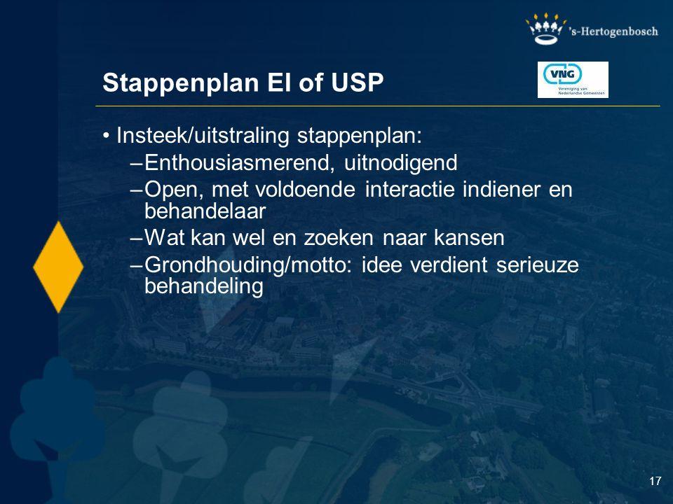 17 Stappenplan EI of USP Insteek/uitstraling stappenplan: –Enthousiasmerend, uitnodigend –Open, met voldoende interactie indiener en behandelaar –Wat